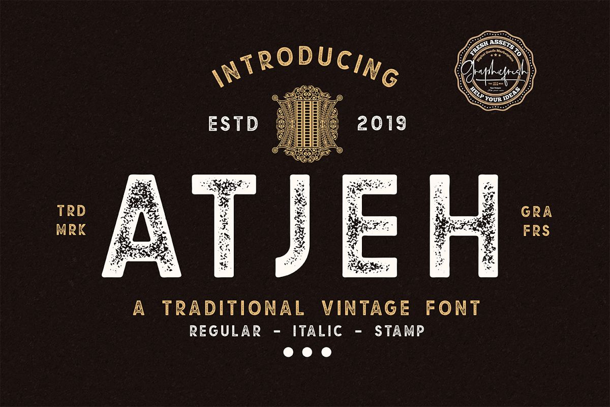 Atjeh - A Traditional Vintage Font | 4 Font Files example image 1