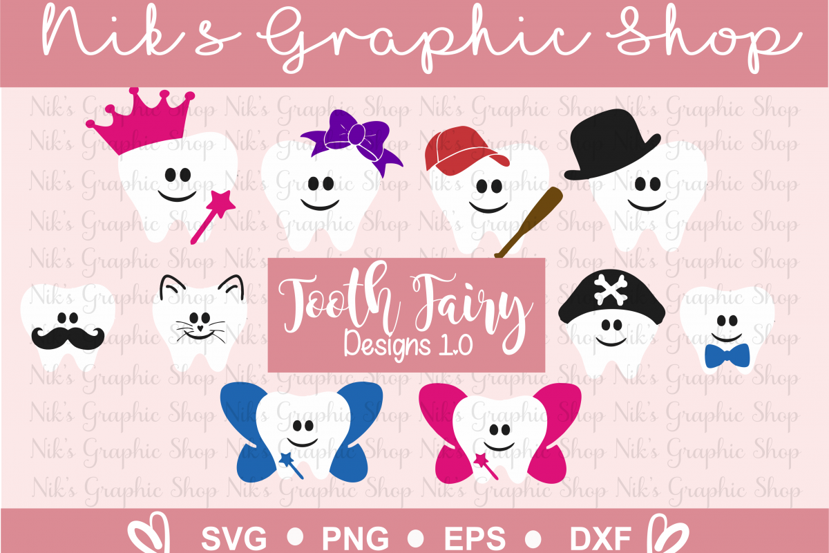 Tooth Fairy Design , Tooth Fairy SVG, Tooth SVG, Fairy SVG example image 1