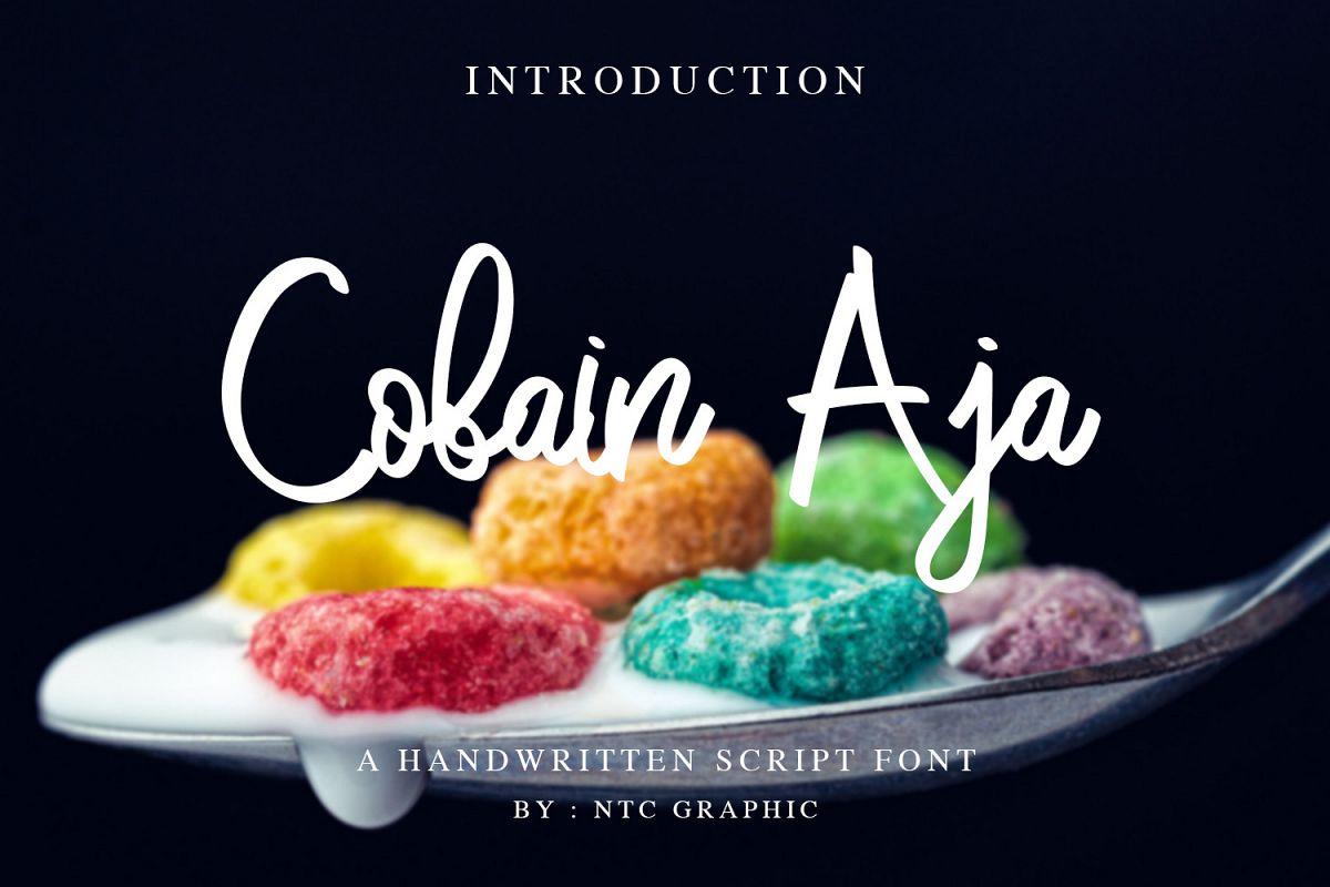 Cobain Aja Handwritten Script Font example image 1