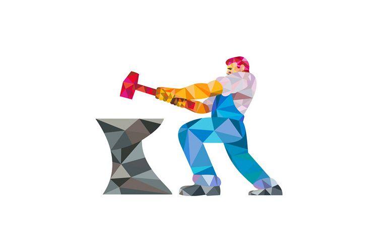 Blacksmith Worker Striking Hammer Anvil Low Polygon example image 1