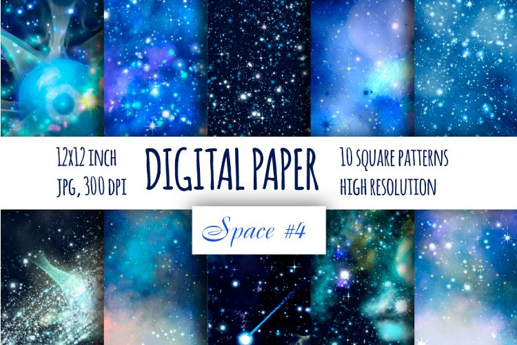 Blue galaxy digital paper. Starry sky background example image 1
