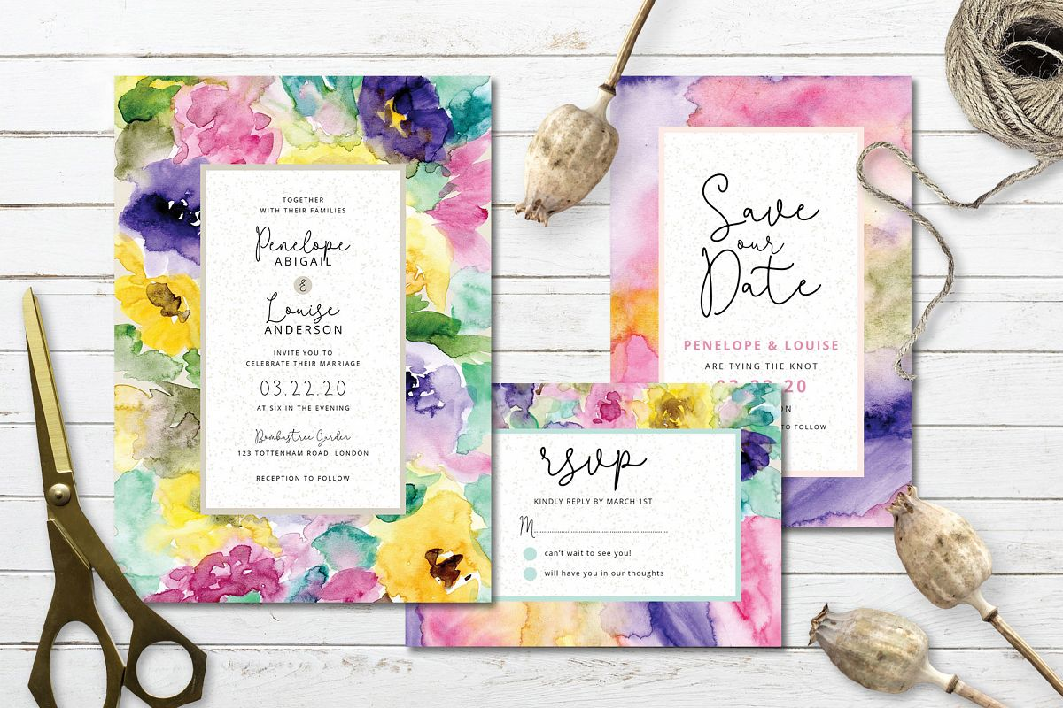 Abstract Floral Wedding Invitation example image 1