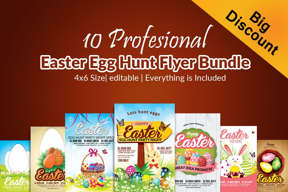 10 Easter Egg Psd Flyer Print Template Bundle example image 1