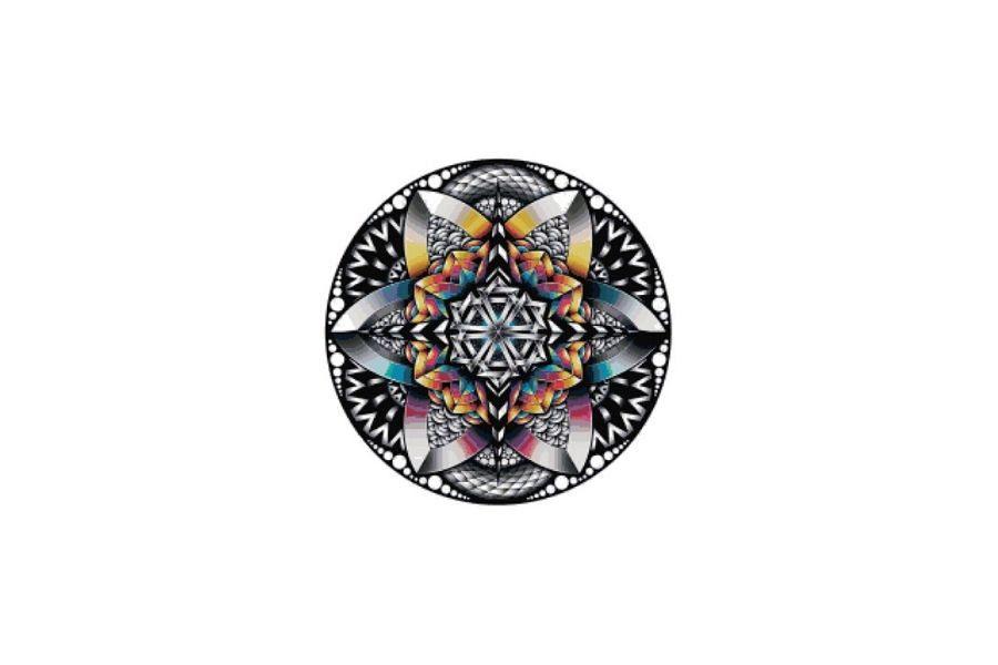 Rainbow Mandala Cross Stitch Pattern example image 1