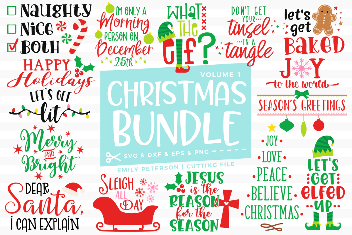 Christmas Bundle 15 Designs Volume 1 SVG DXF EPS PNG example image 1