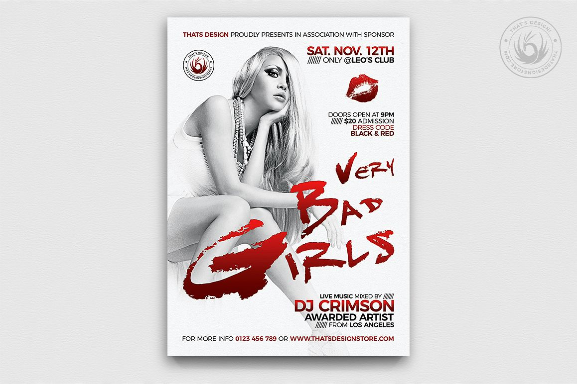 Bad Girls Flyer Template example image 1