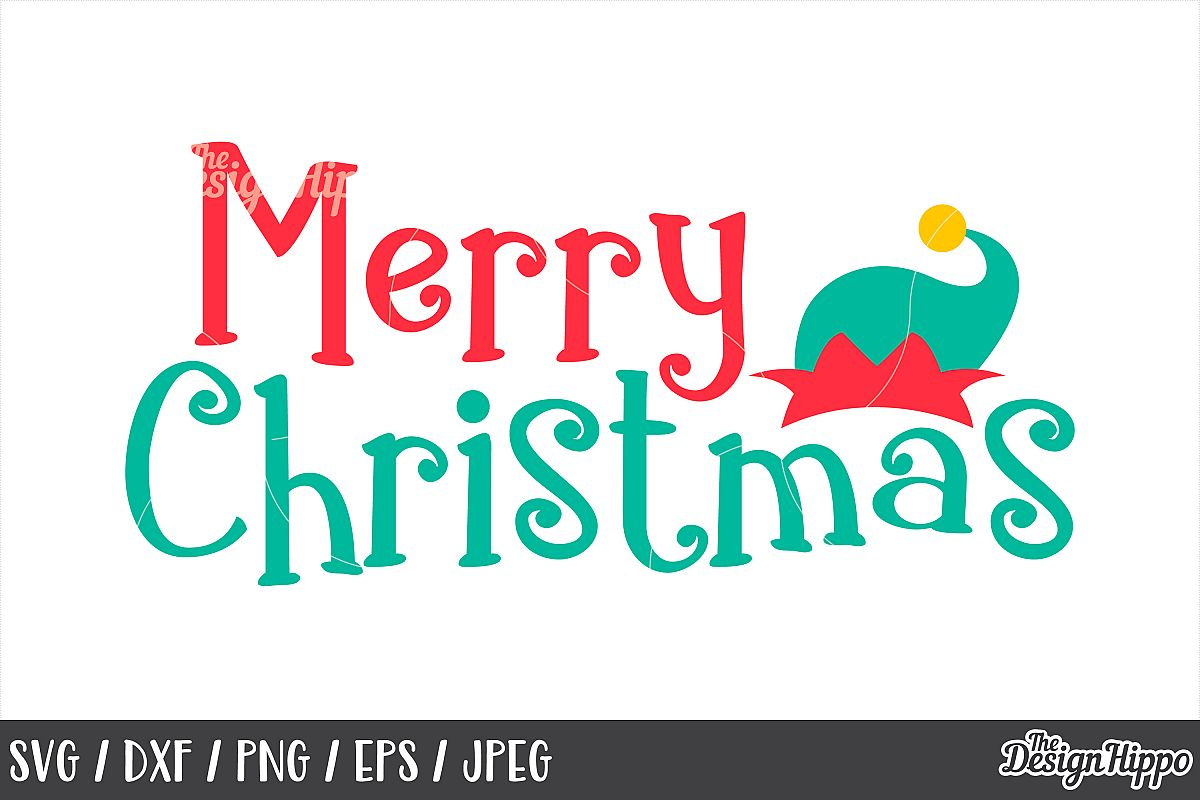 Merry Christmas SVG, Elf Hat, DXF, PNG, Cut Files, Cricut example image 1