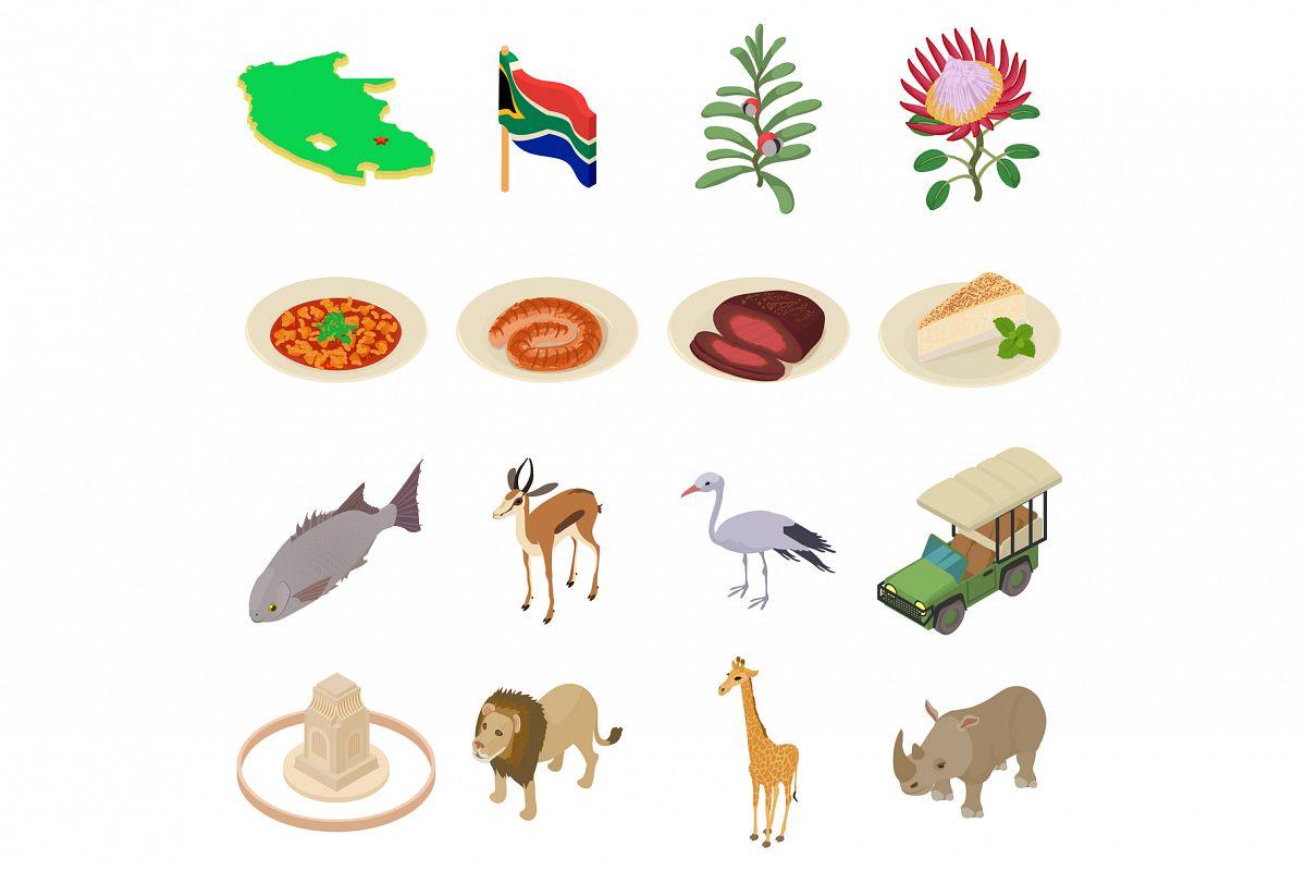 South Africa travel icons set, isometric style example image 1