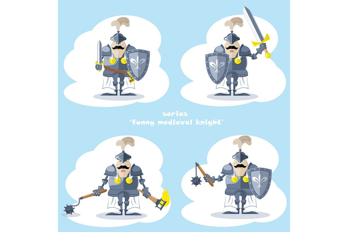 Set of 20 figure funny medieval knight or soldier. Vector illustration example image 1