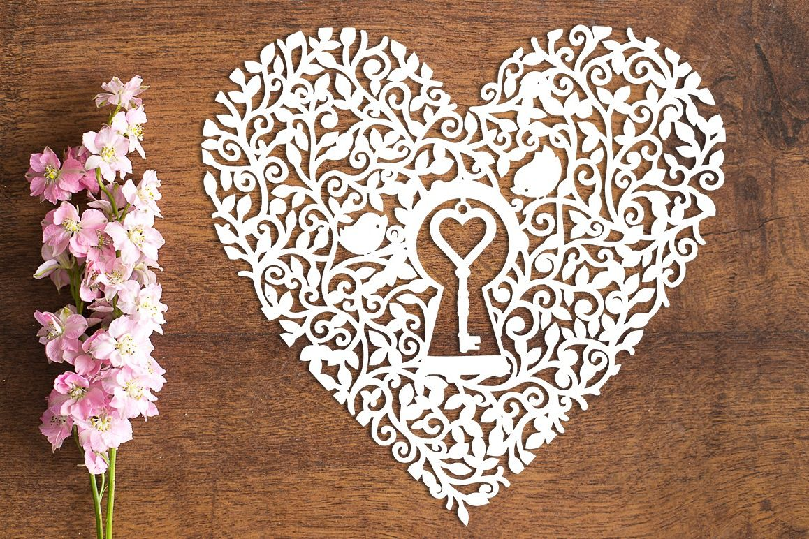 Key To My Heart - Paper Cutting Template example image 1