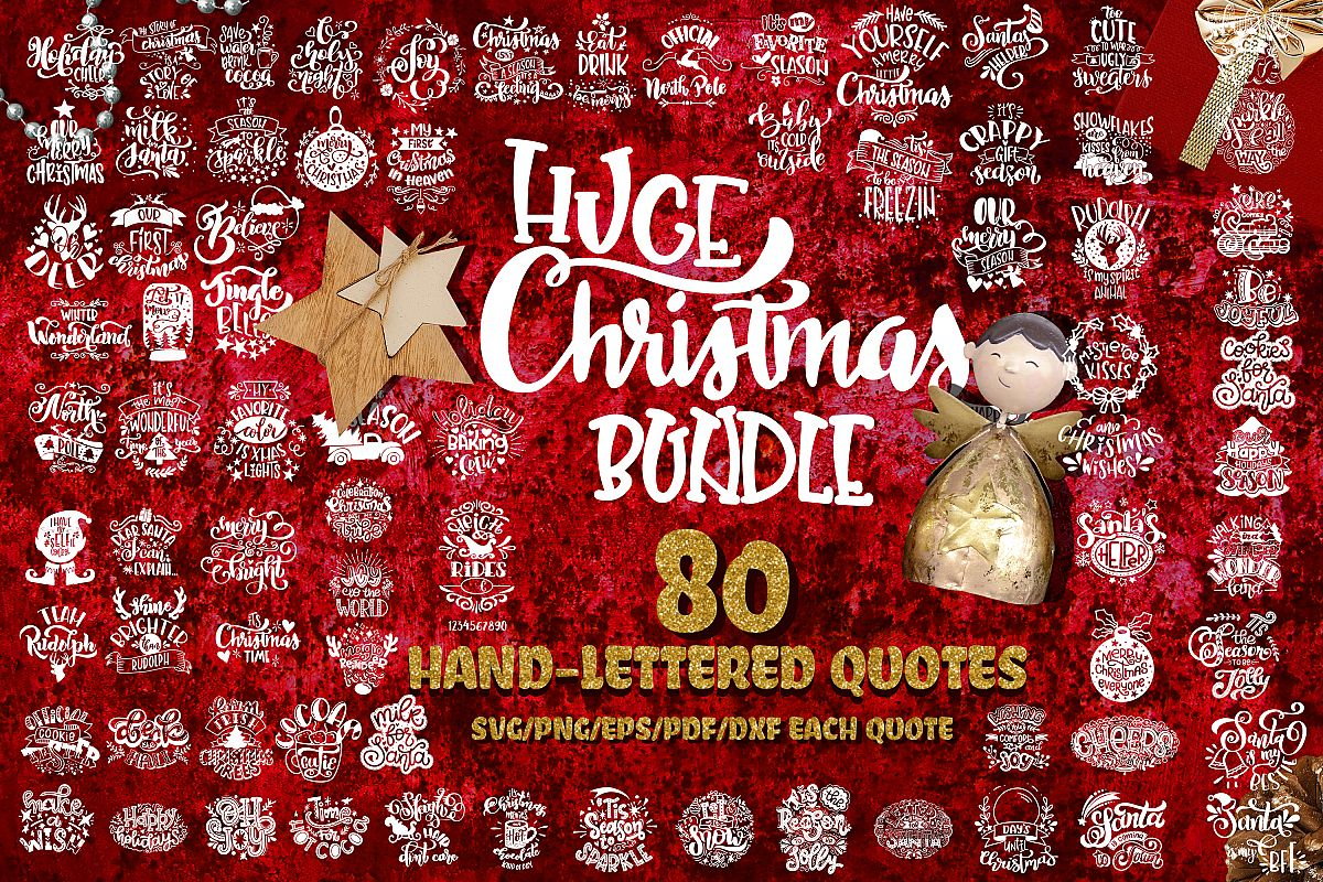 Christmas svg BUNDLE BIG set of 80 quotes example image 1
