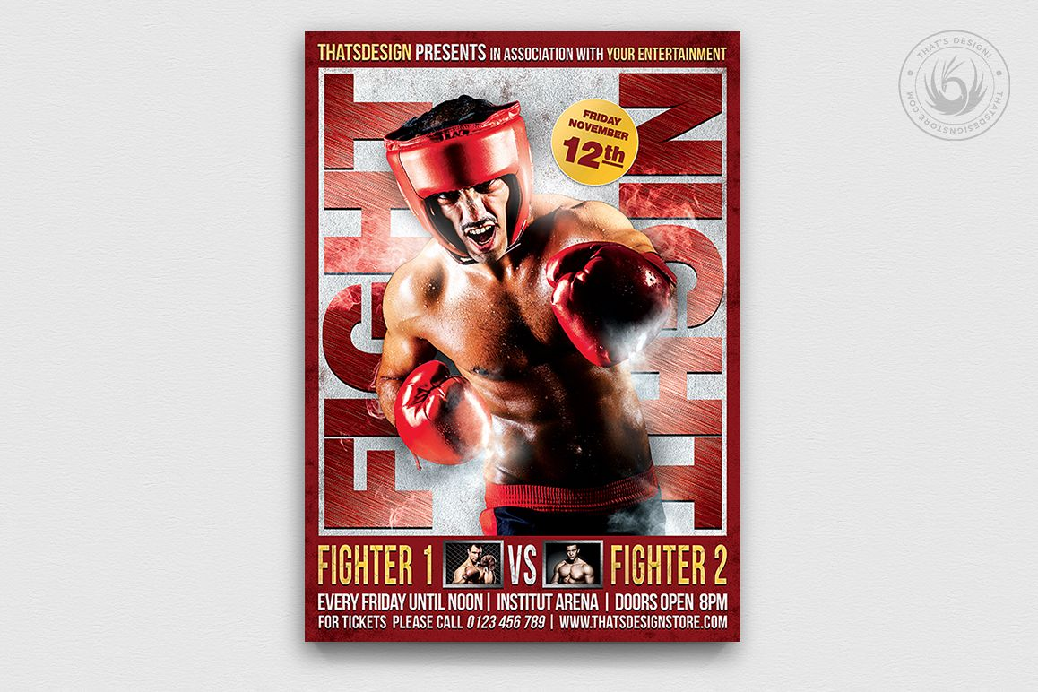 Fight Night Flyer Template V3 example image 1