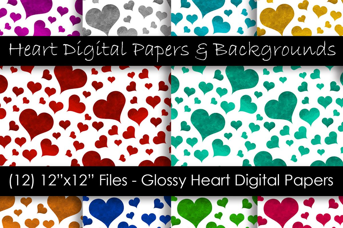 Glossy Color Heart Pattern Backgrounds example image 1