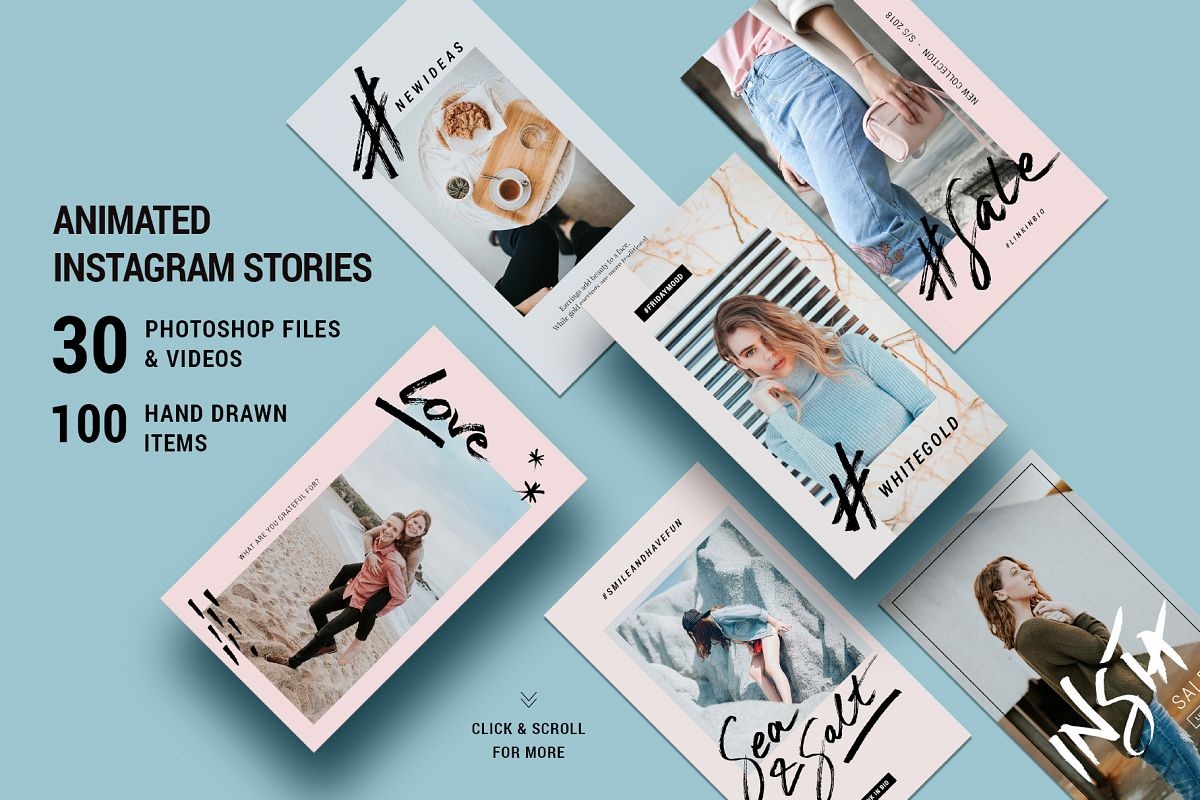 ANIMATED Modern Instagram Stories - Creative Hand Drawn Instagram Story  Templates