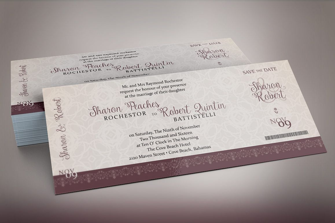 Vintage Boarding Pass Invitation Template