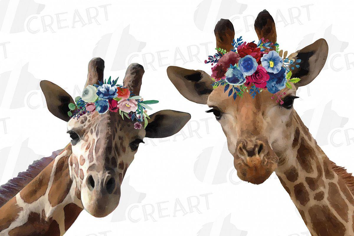 Floral crown giraffe animal wall art. Watercolour giraffe. example image 1