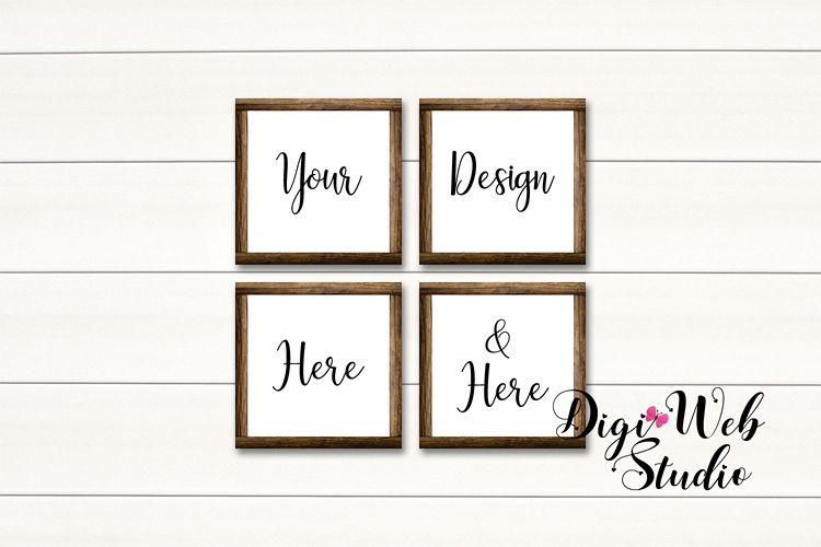 4 Wood Signs Mockup - Set of 4 Wood Frames on White Shiplap example image 1