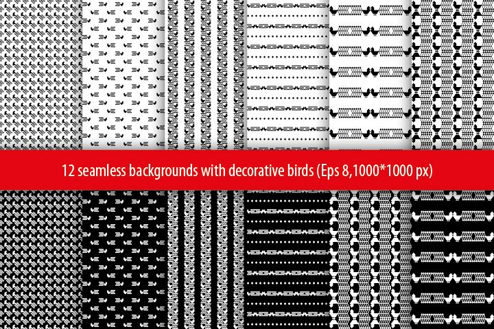 Set of 12 seamless vector backgrounds with decorative birds.  example image 1