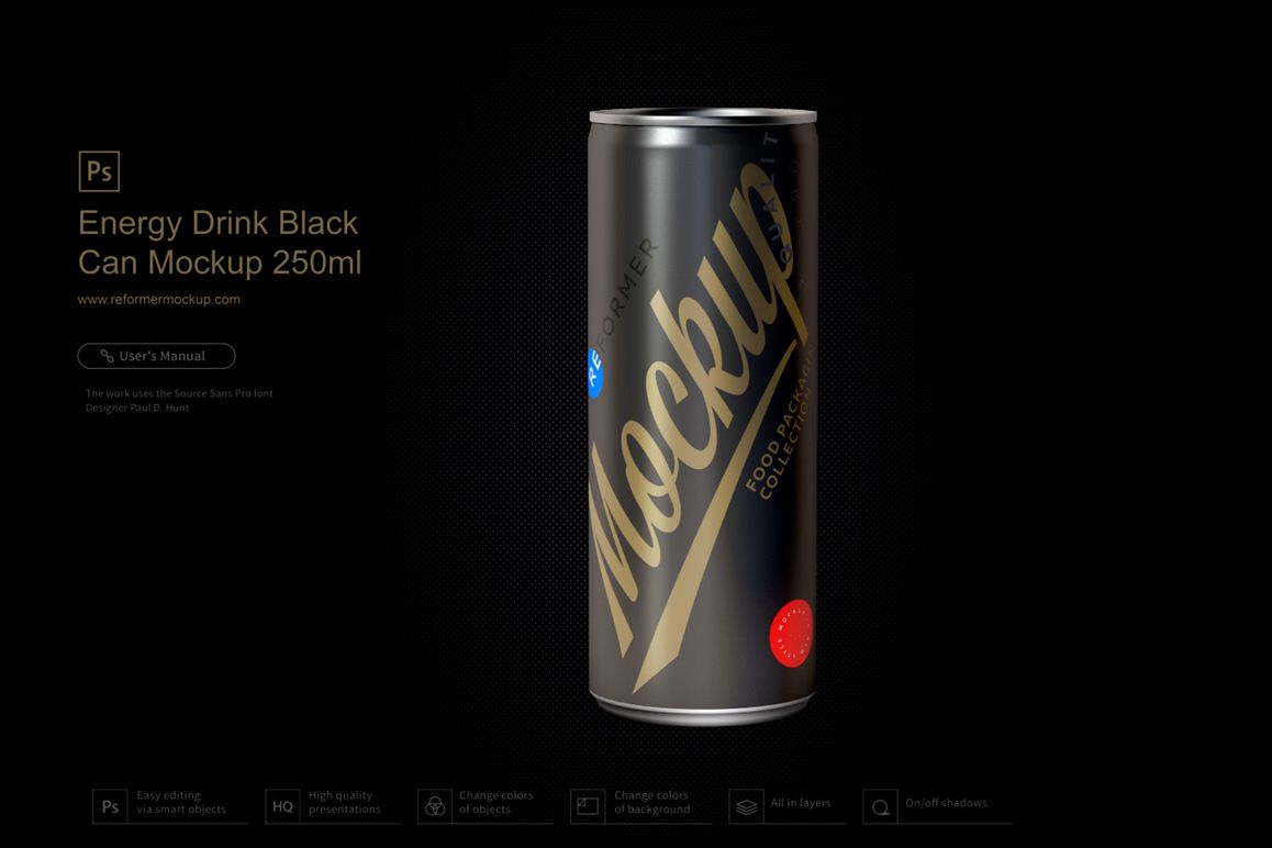 Energy Drink Black Can Mockup 250ml example image 1