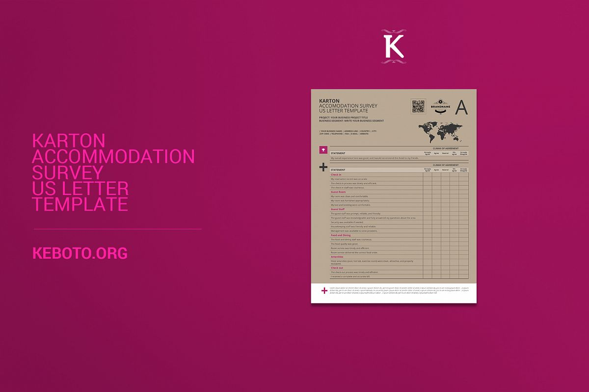 karton accommodation survey us letter template example image 1