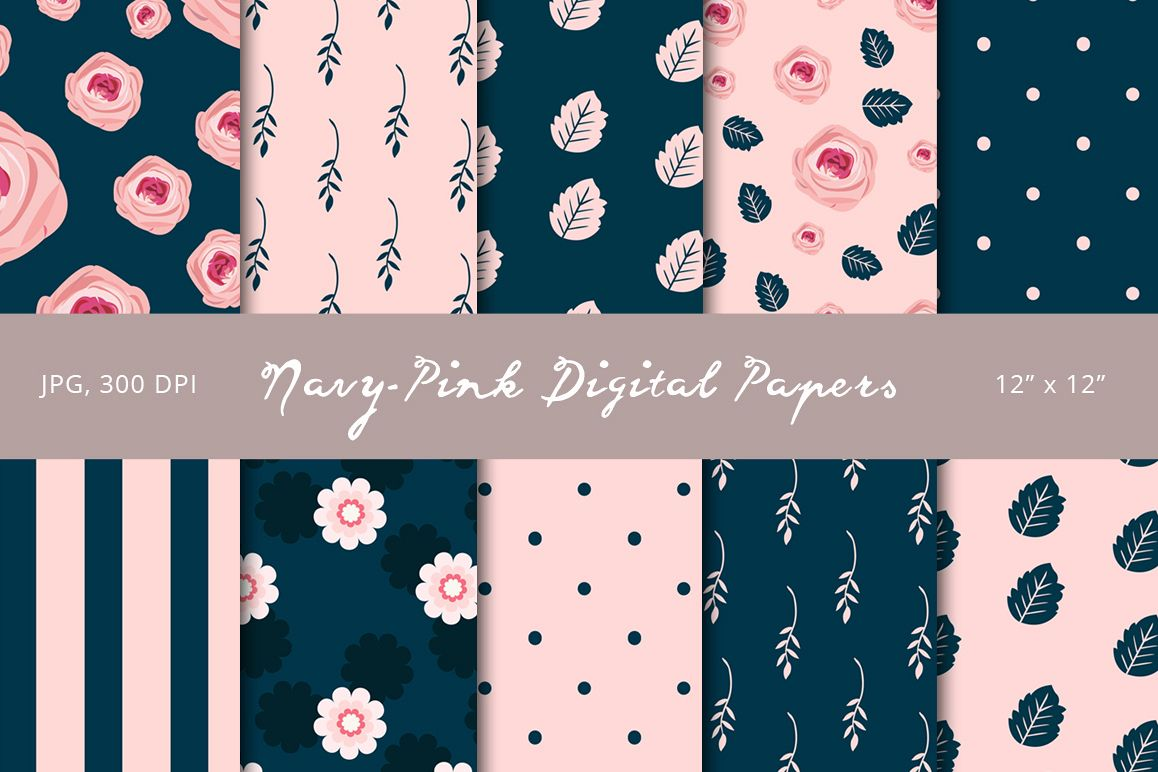 Navy-Pink Digital Papers example image 1