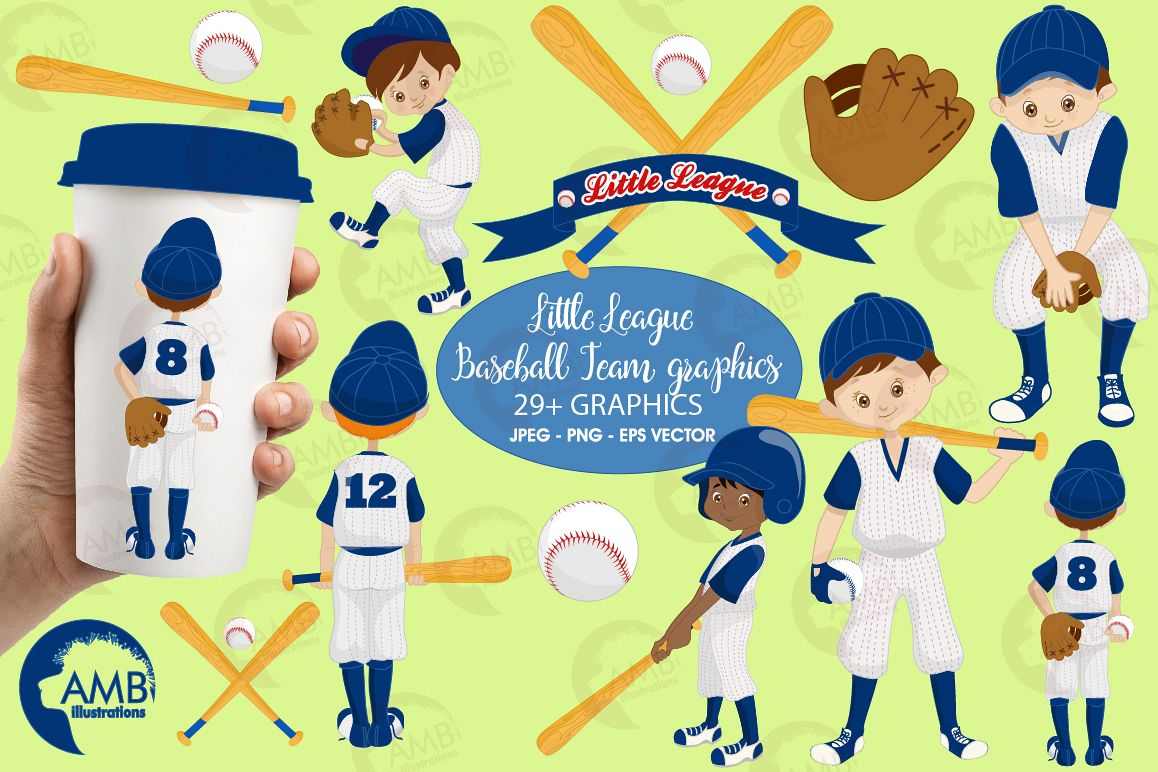 Baseball team, baseball players, graphics, illustrations AMB-1227 example image 1