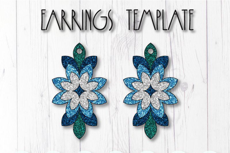 Flower earrings template SVG, DIY earrings template example image 1