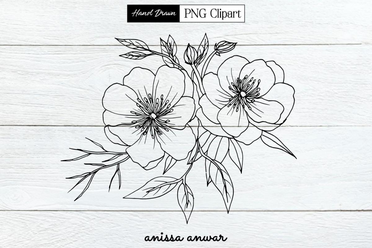 Flowers Bouquet Line Art, Png Clipart, Sublimation Printable example image 1