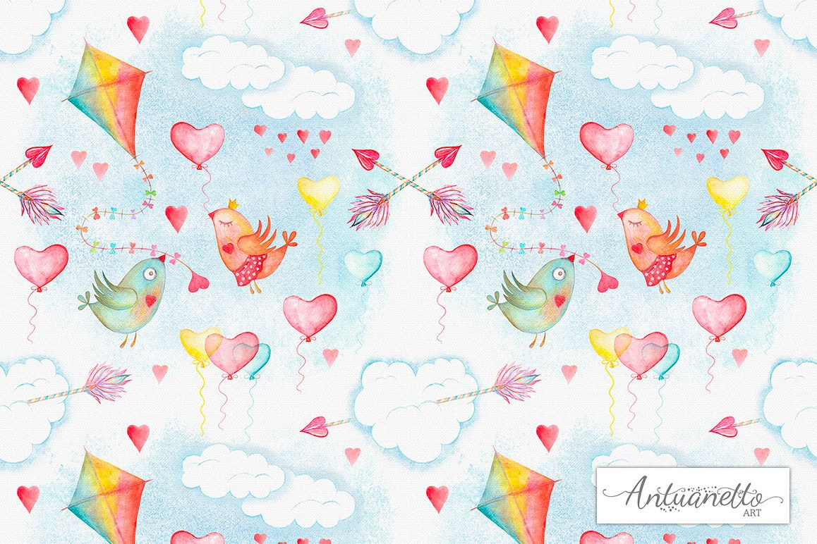 Watercolor sky cute seamless pattern example image 1