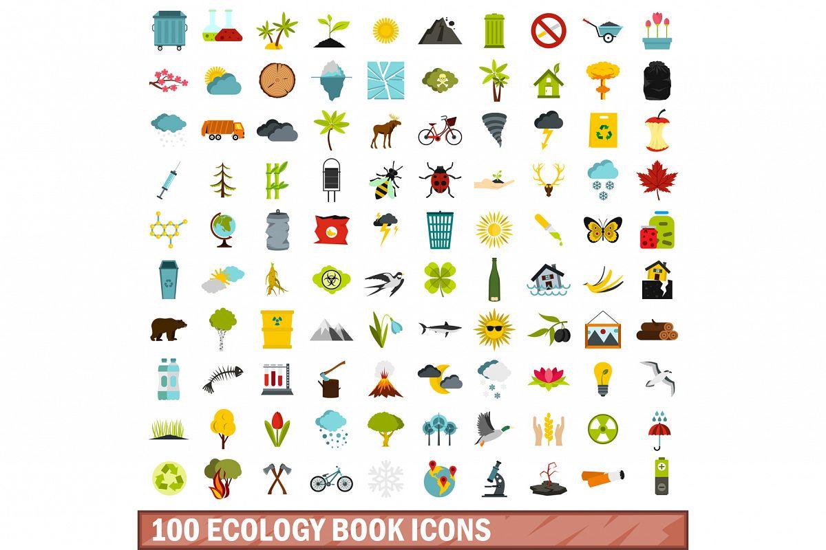 100 ecology book icons set, flat style example image 1