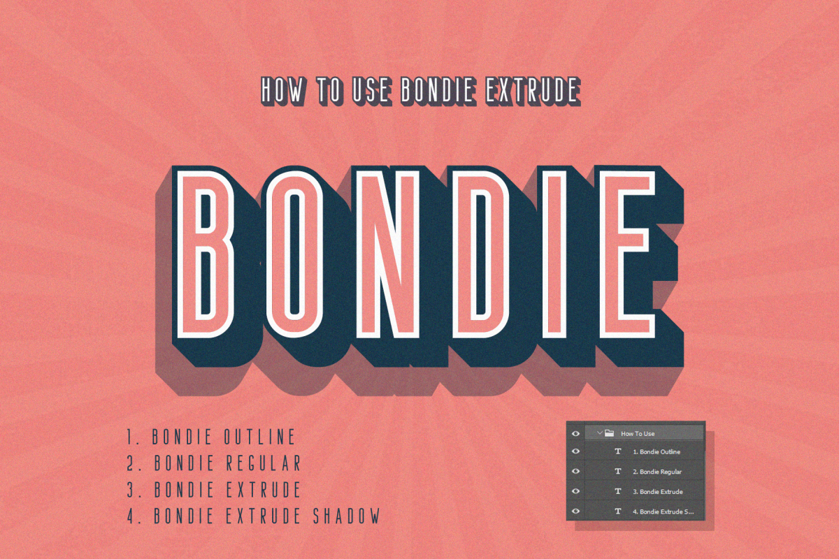 Bondie Extrude Font Family example image 1