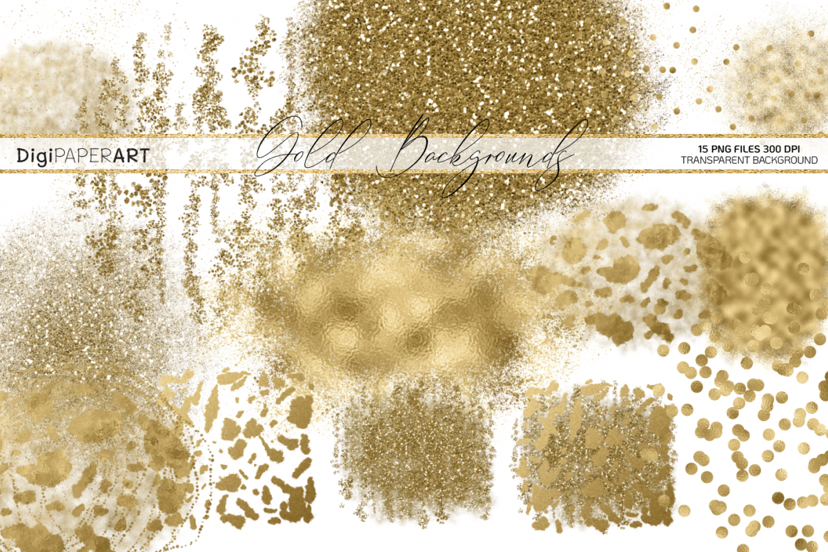 Gold Glitter Backgrounds, Gold Design PNG Elements example image 1