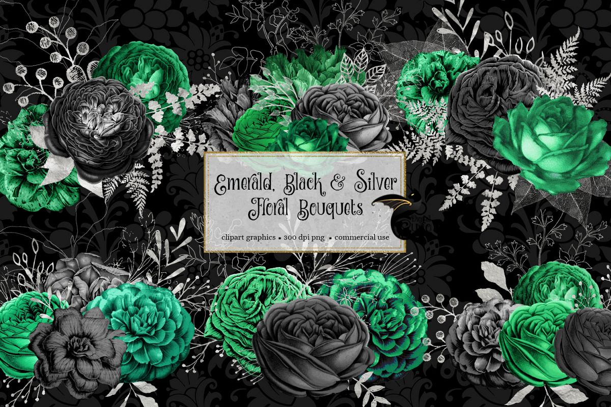 Emerald Black and Silver Floral Bouquets example image 1