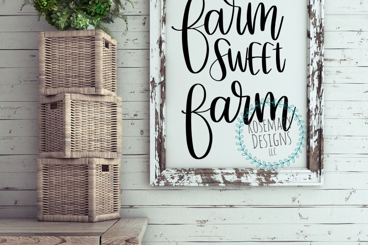 Farm Sweet Farm - Hand lettered cut files example image 1