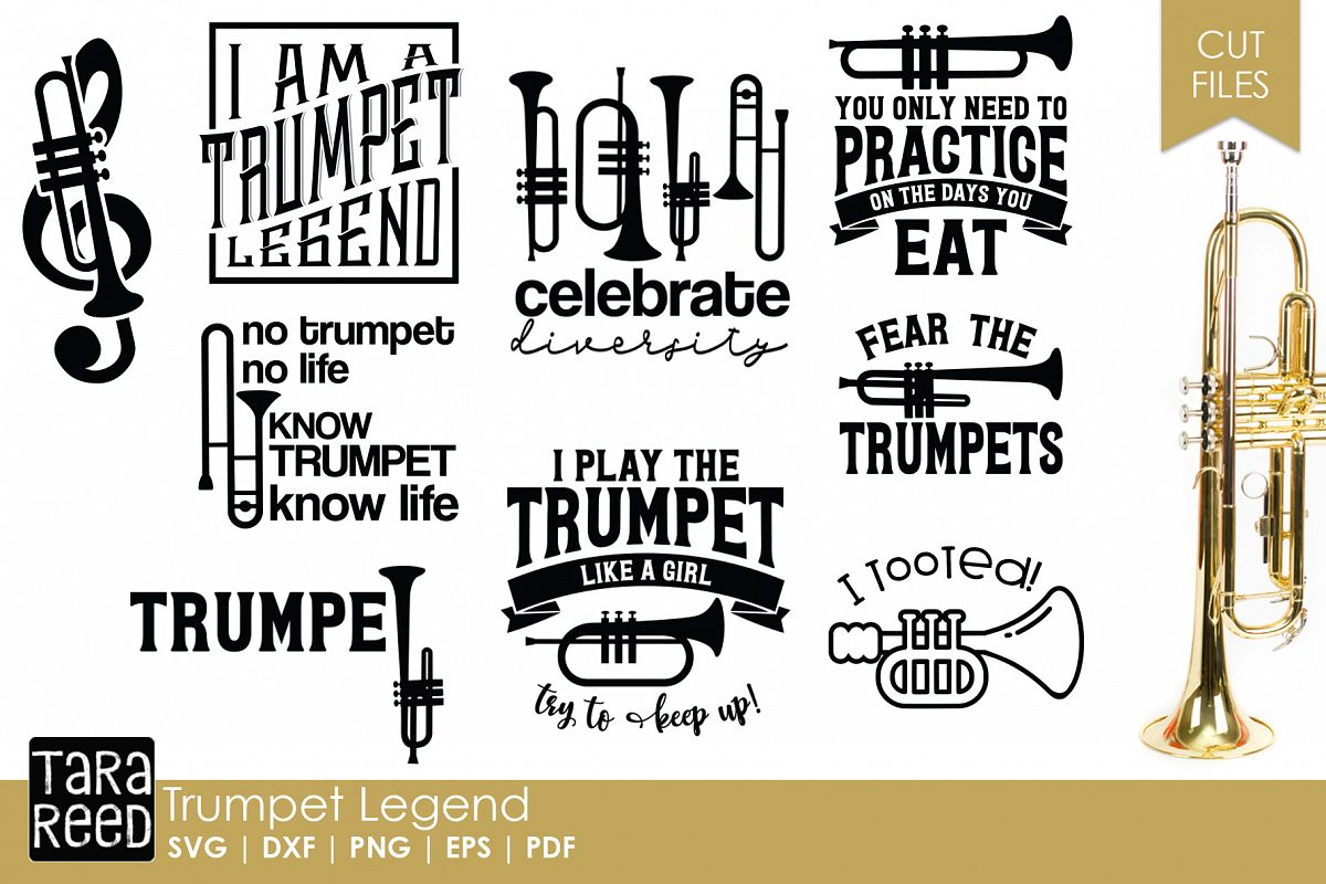 Trumpet Legend - Trumpet SVG & Cut Files for Crafters example image 1