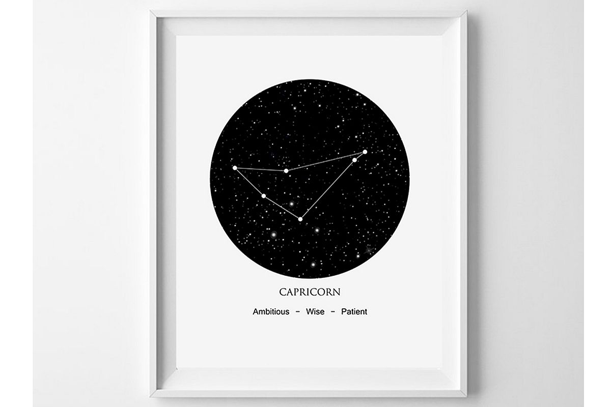 Capricorn Wall Art, Constellation Art, Star Sign Poster example image 1