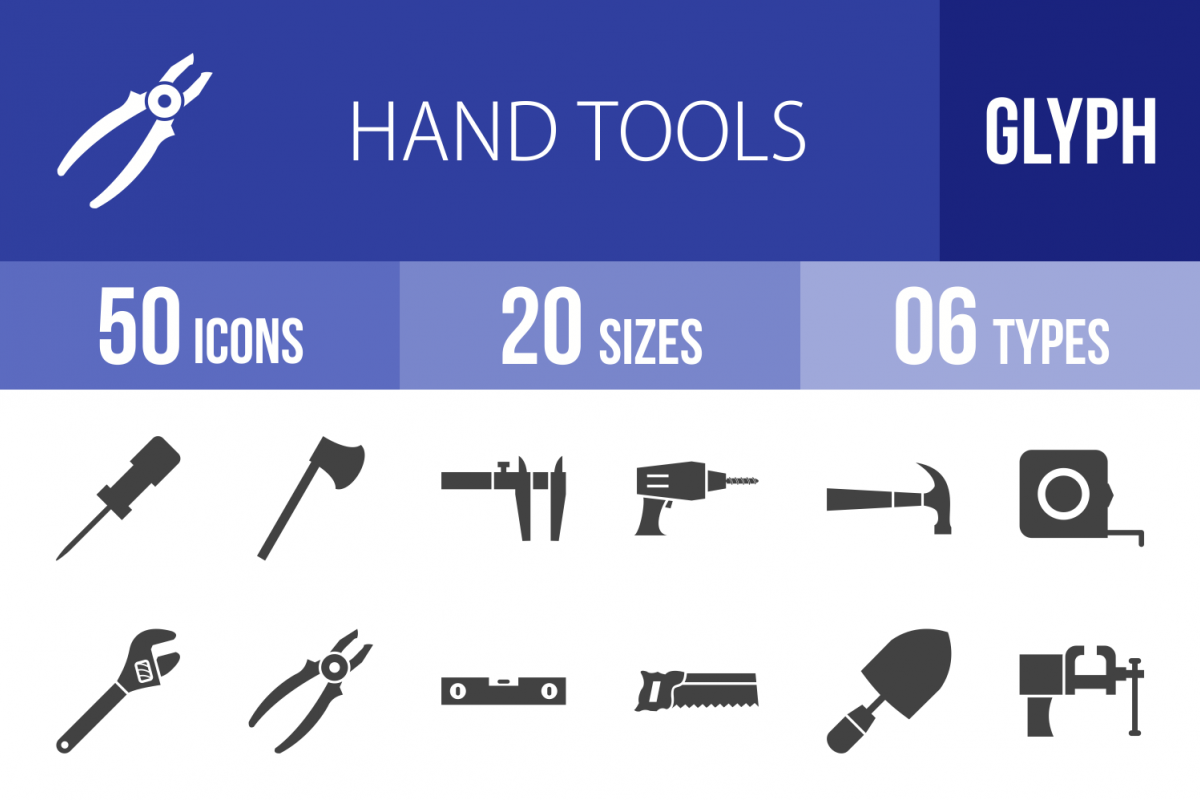 50 Hand Tools Glyph Icons example image 1