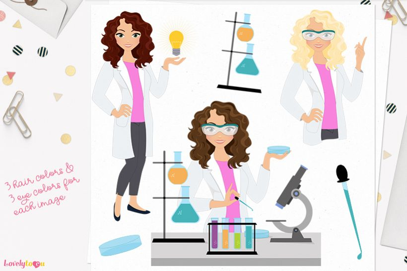 Scientist woman character clip art L291 Dixie example image 1