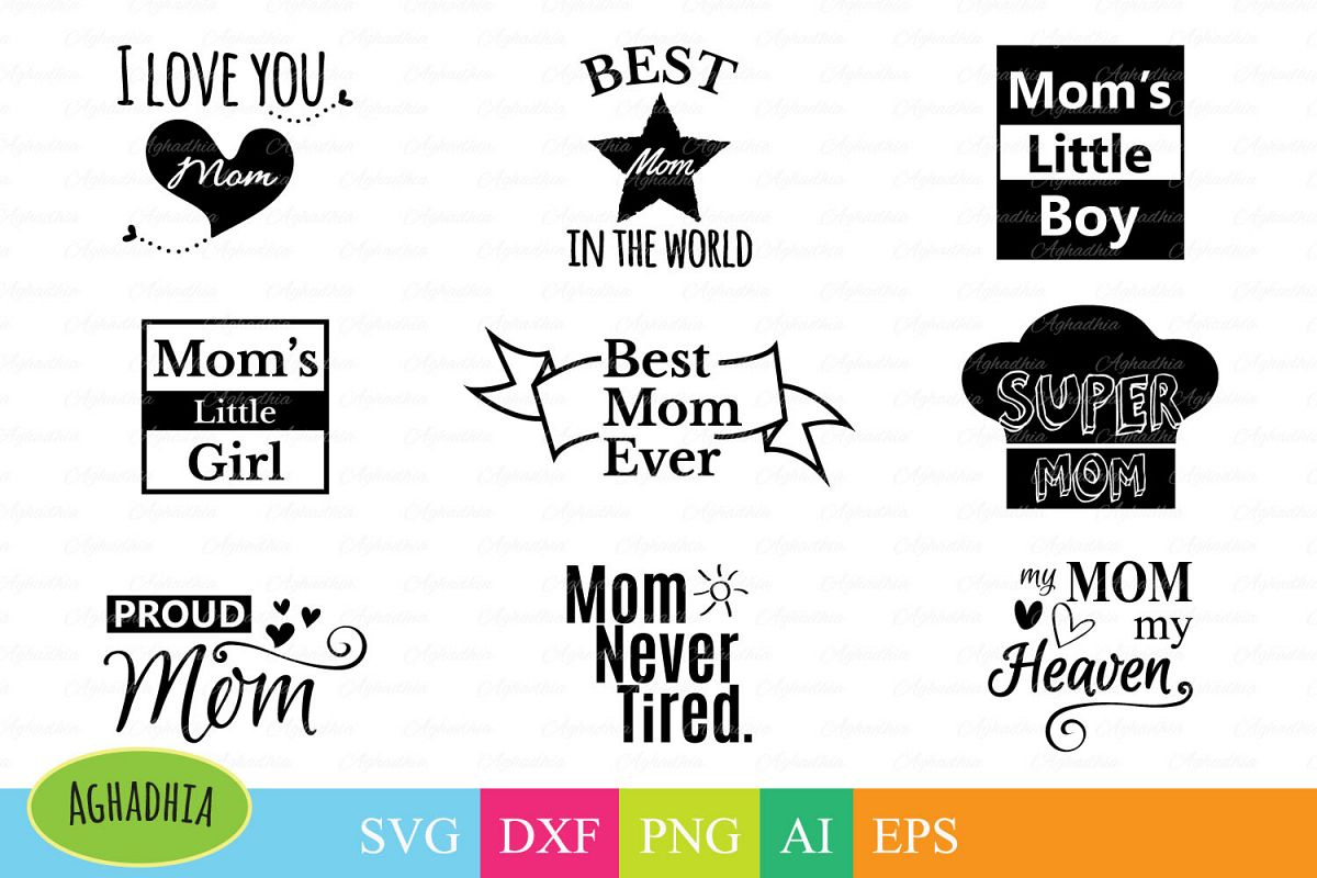 Mom's life bundle SVG PNG DXF Ai and EPS cutting files example image 1
