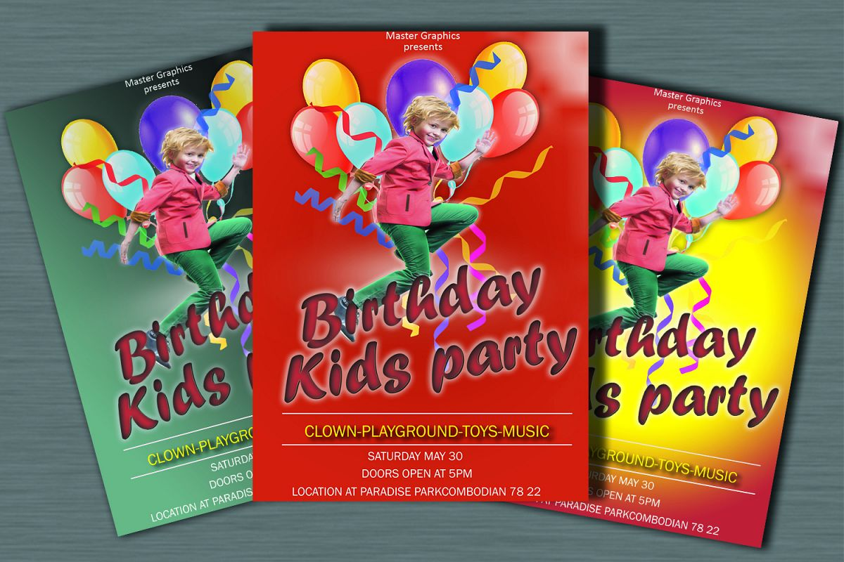 Birthday invitation card in 3 colours example image 1