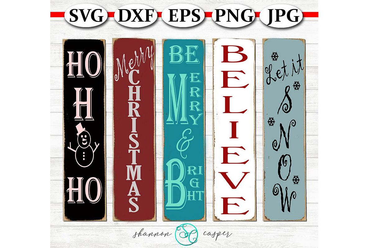 Christmas Porch Wood Sign SVG Bundle example image 1