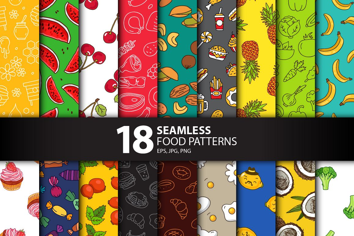 18 Seamless Food Patterns