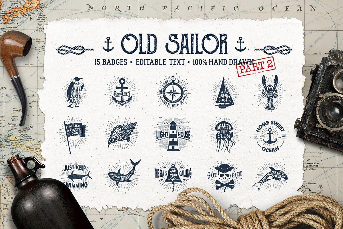Old Sailor. Vintage Badges. Vol.2 example image 1