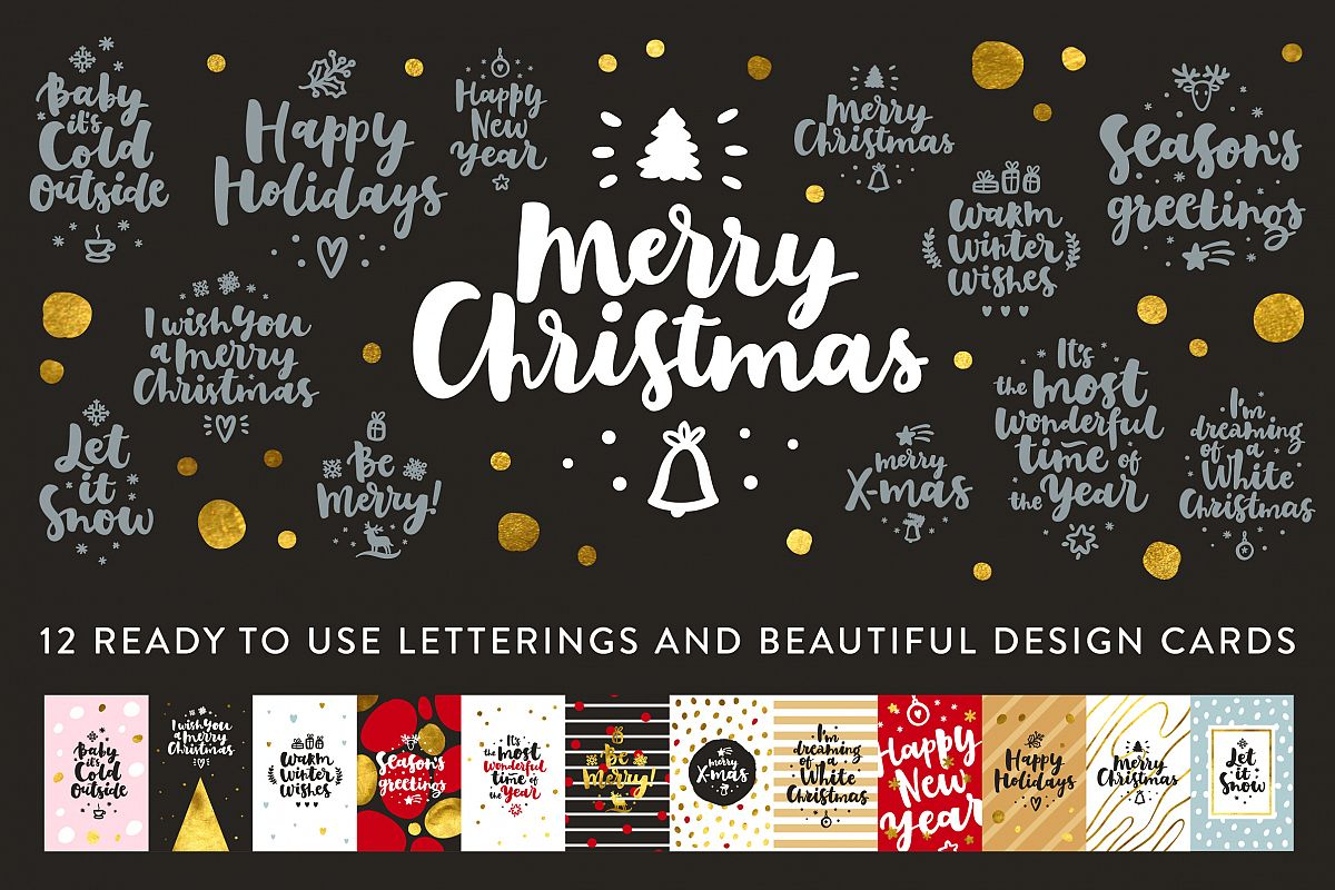 Merry Christmas Vector Set example image 1