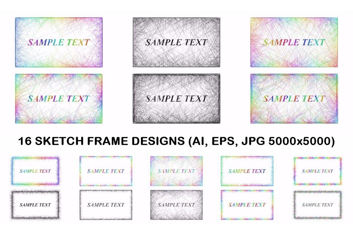 16 sketch frame designs (AI, EPS, JPG 5000x5000) example image 1