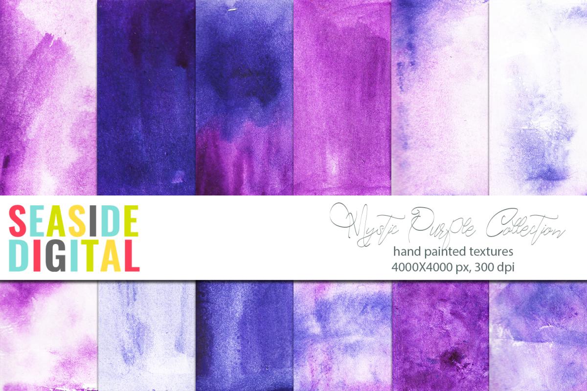 Mystic Purple Watercolor Textures example image 1