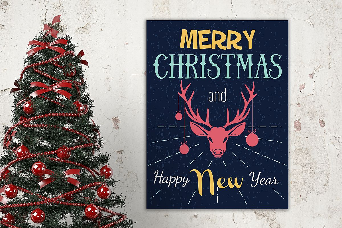 Vector christmas and new year poster with deer example image 1