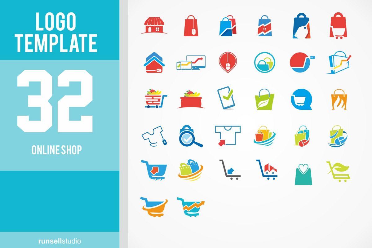 Online Shop Logo Template Set By Runsell Design Bundles