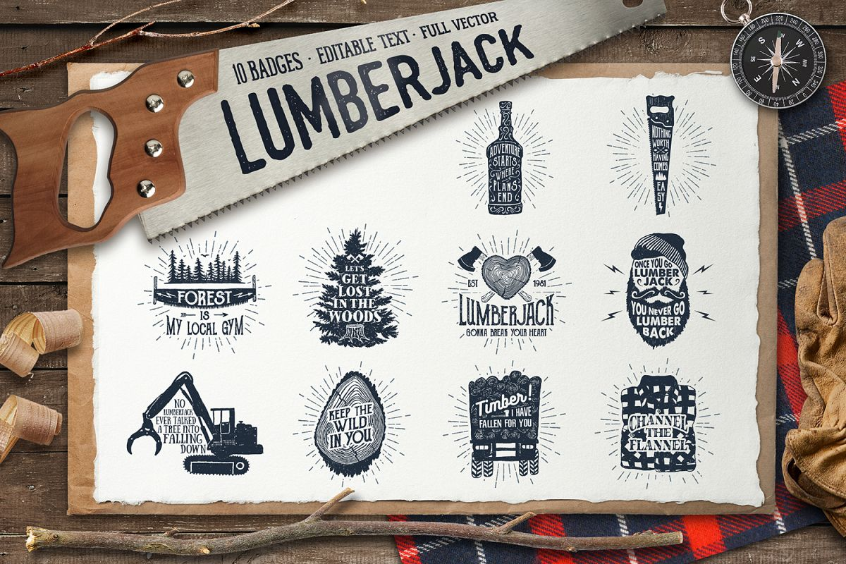 Lumberjack. Vintage Badges (part 2) example image 1