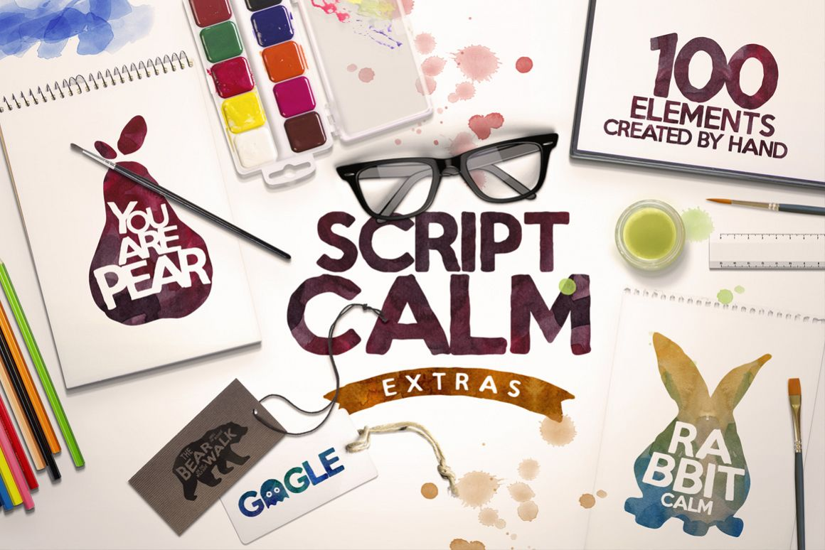 Script Calm  100 Elements  Bonus example image 1